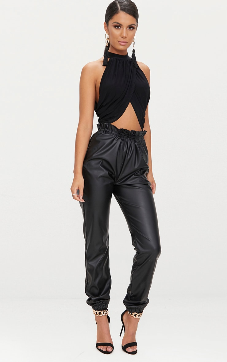 Black Neck Wrap Crop Top  4