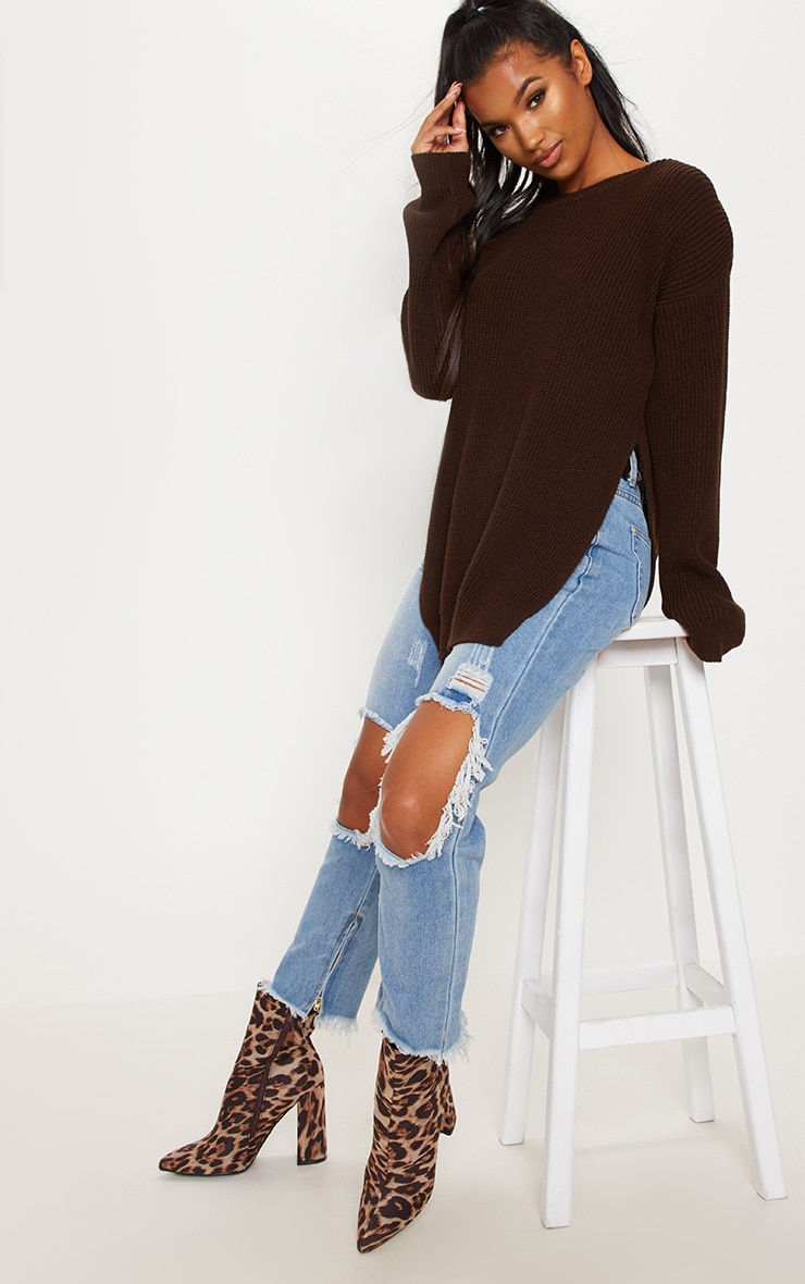 Chocolate Brown Round Neck Side Split Sweater  1