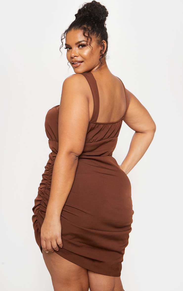 Chocolate Brown Ruched Side High Neck Midi Dress 3