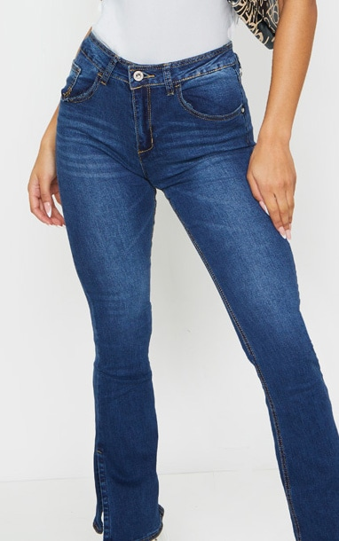 Indigo Side Split Hem Flared Jeans 4