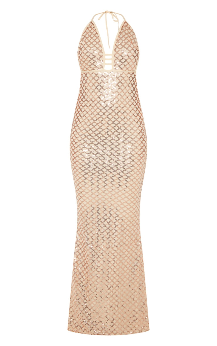 Rose Gold Diamond Sequin Halterneck Fishtail Maxi Dress 3