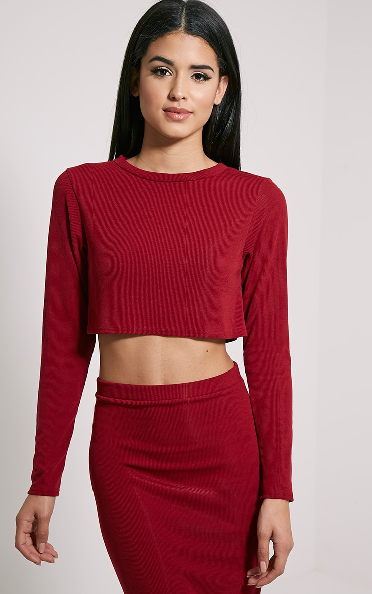 Basic Burgundy Long Sleeve Premium Ribbed Crop Top 1