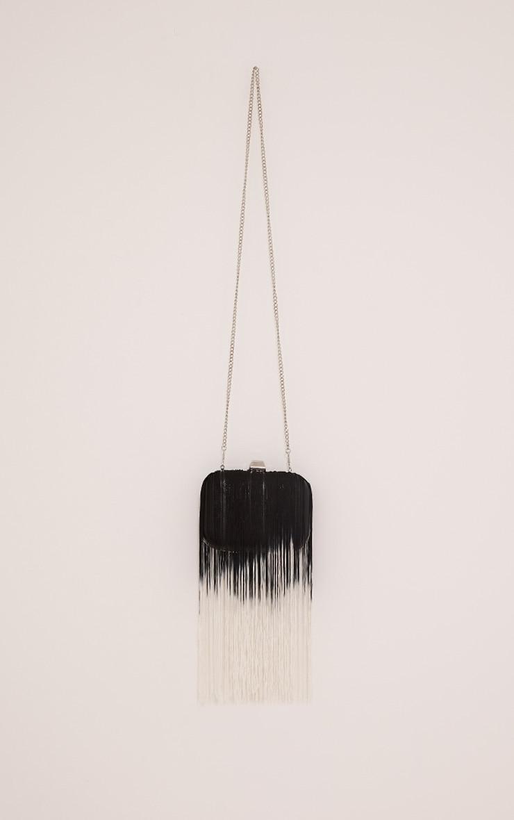 Klio Black Ombre Fringe Box Clutch Bag 4