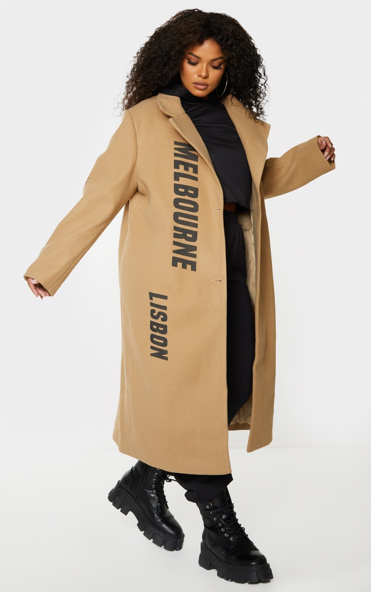 Plus Camel Long Line Printed Coat 1