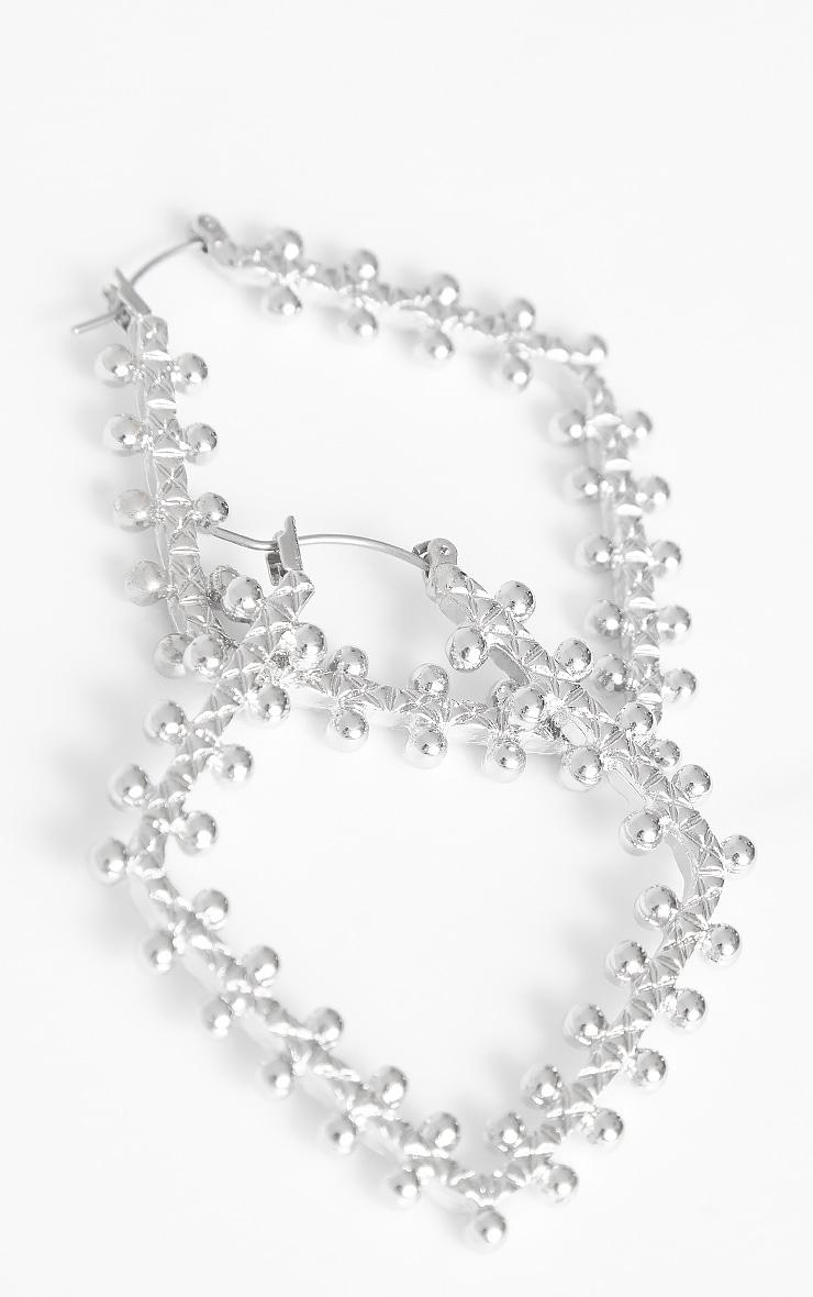 Silver Beaded Triangular Hoop Earrings 1