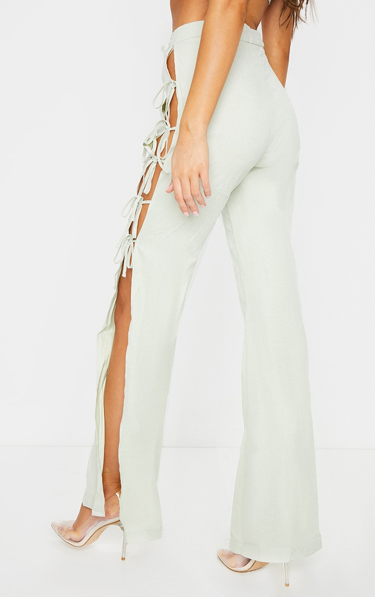 Sage Lace Up Detail Flared Trousers 3