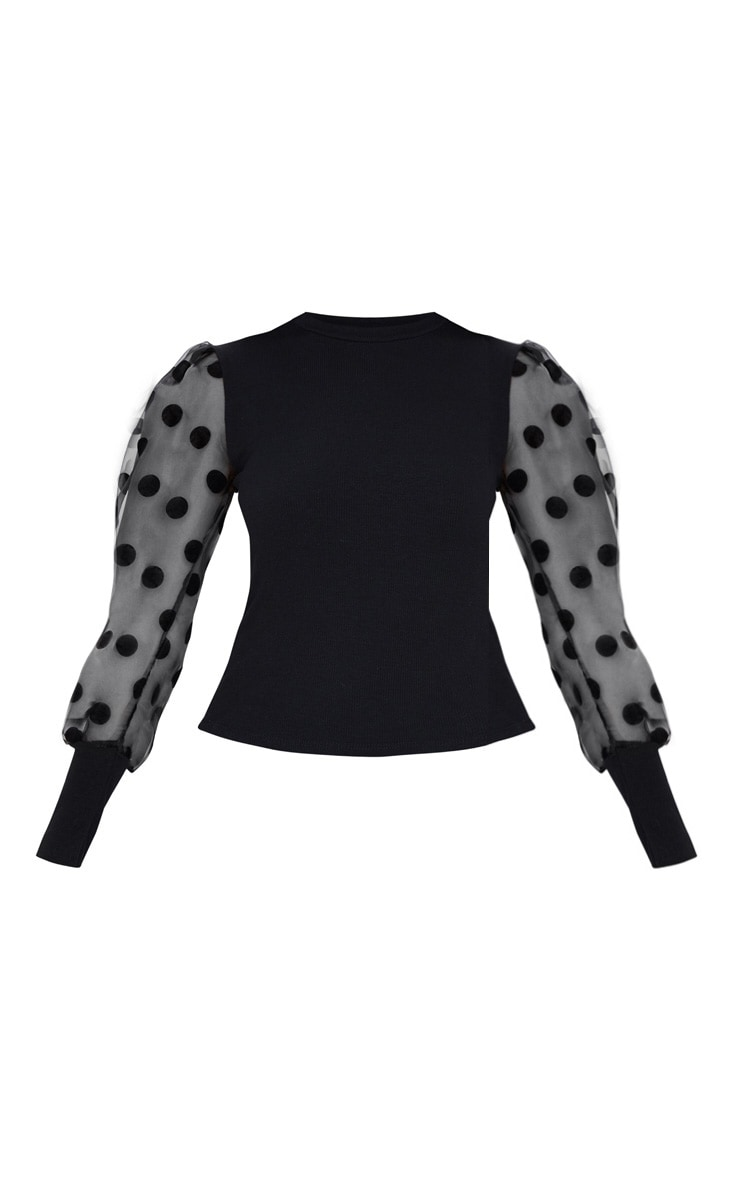 Black Rib High Neck Sheer Polka Dot Puff Sleeve Long Top 3