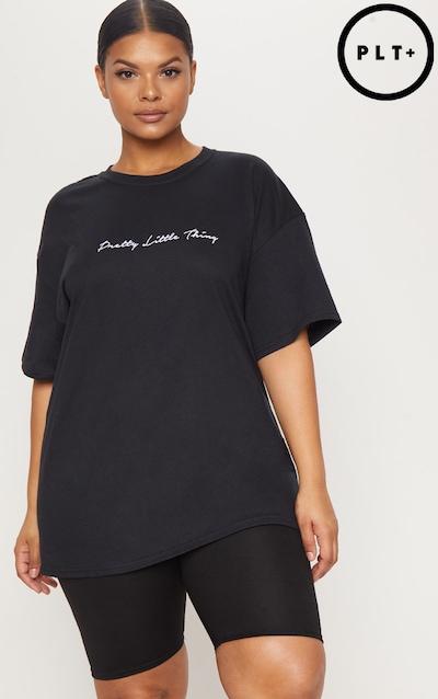 PRETTYLITTLETHING Plus Black Slogan T-Shirt f246ed13a3e