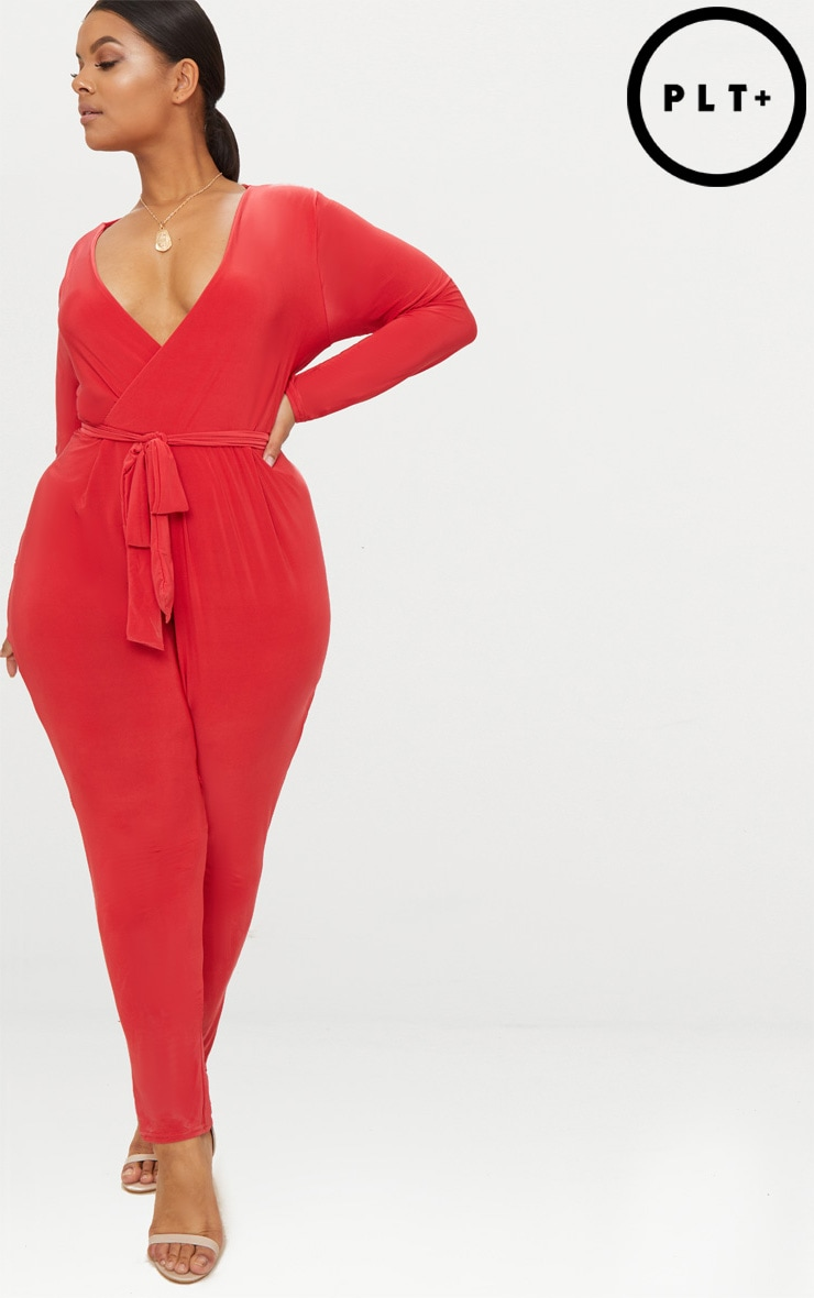 Plus Red Slinky Wrap Front Jumpsuit 1