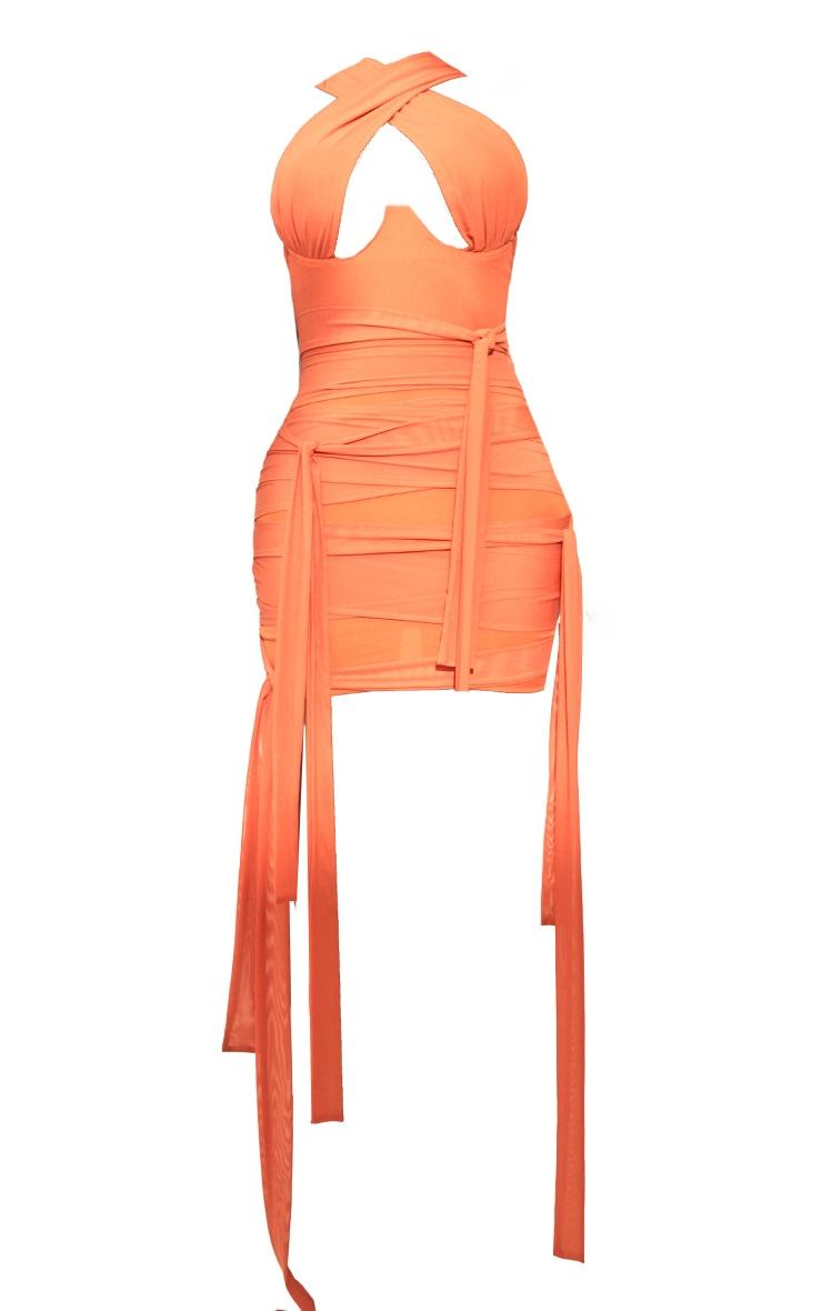 Shape - Robe moulante orange en mesh à liens autour du cou 5