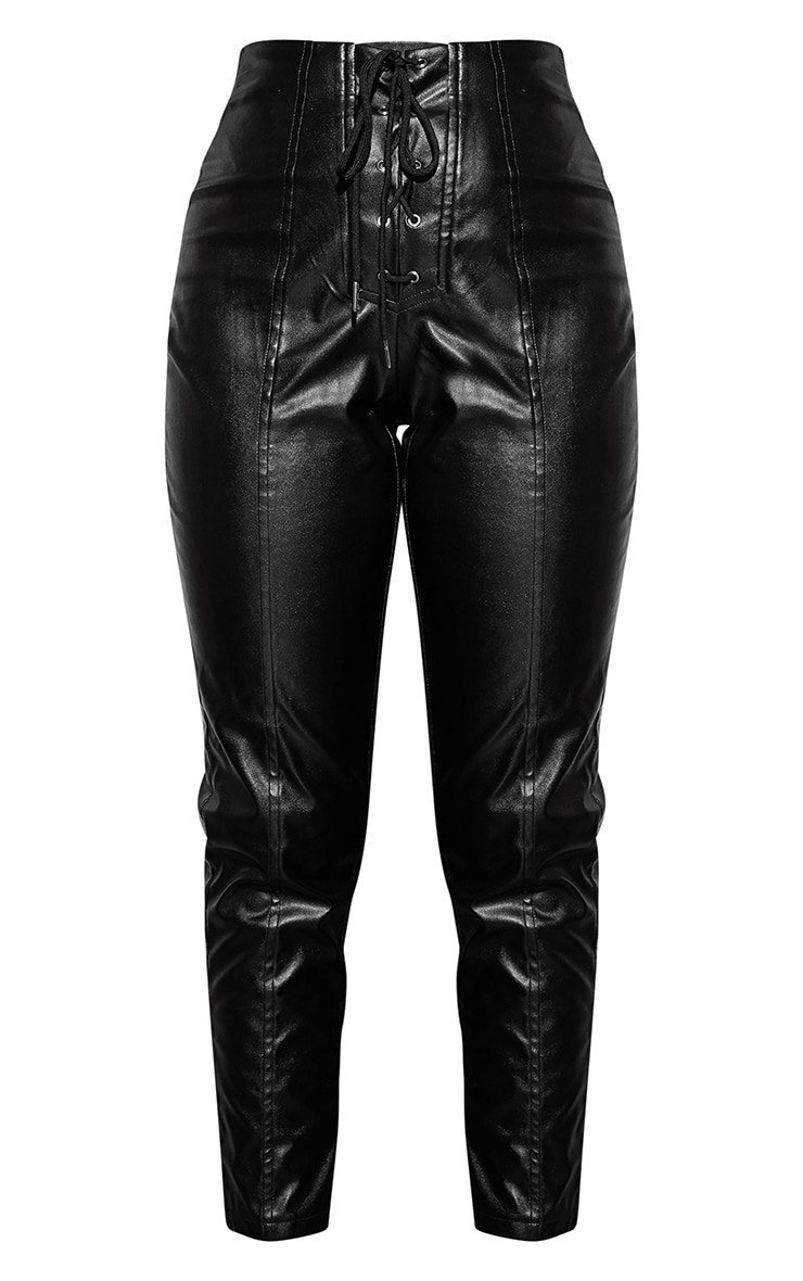 Black Lace Up PU Skinny Trousers 3