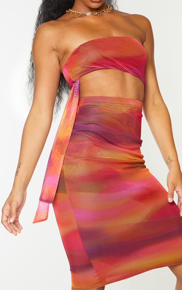 Pink Abstract Print Mesh Bandeau Cut Out Midi Dress 4