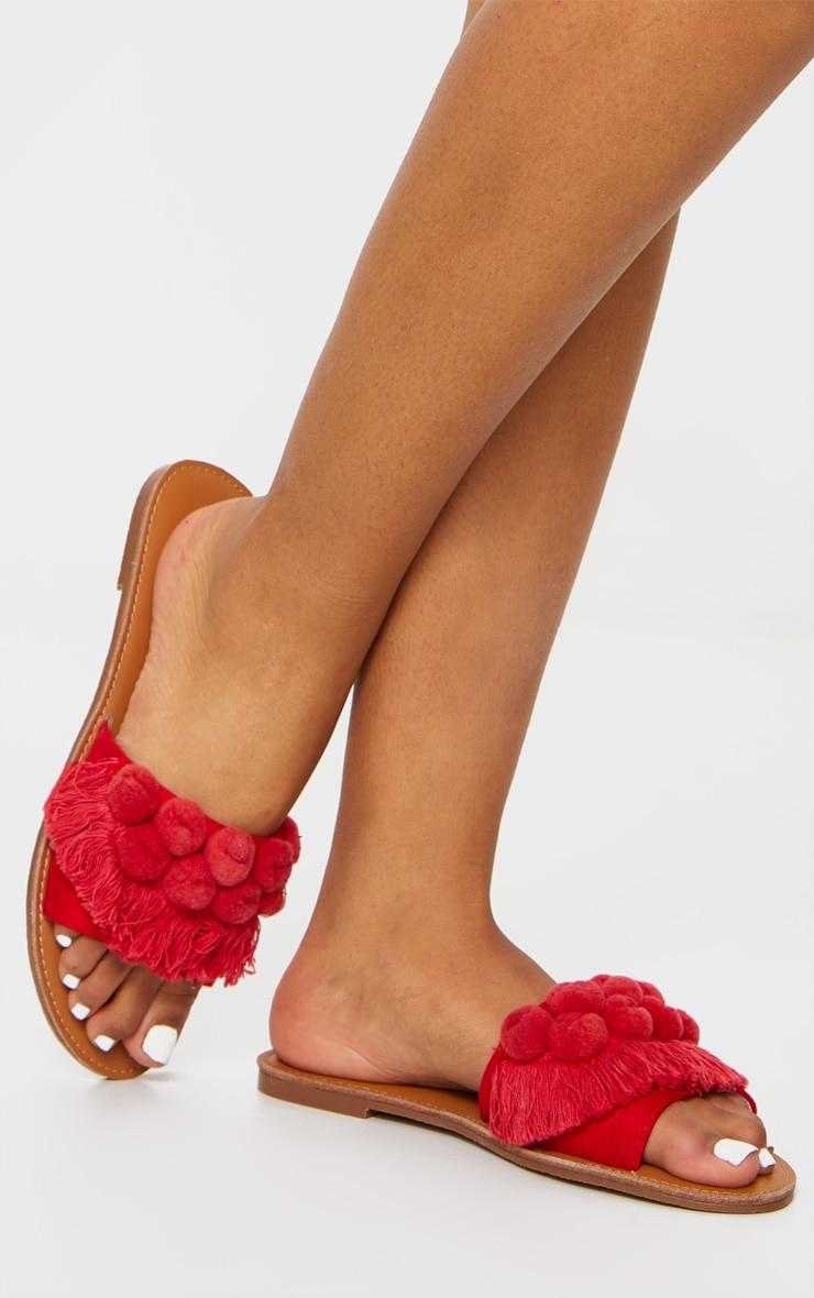 Red Pom Pom Fringe Sandal 1