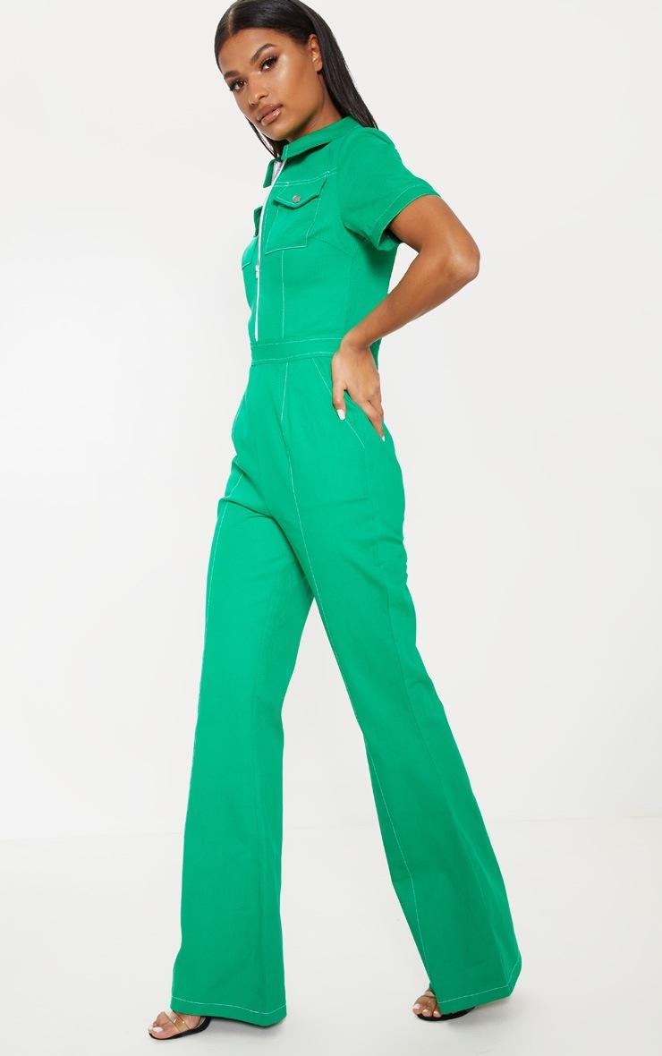 Green Zip Front Contrast Stitch Jumpsuit 4