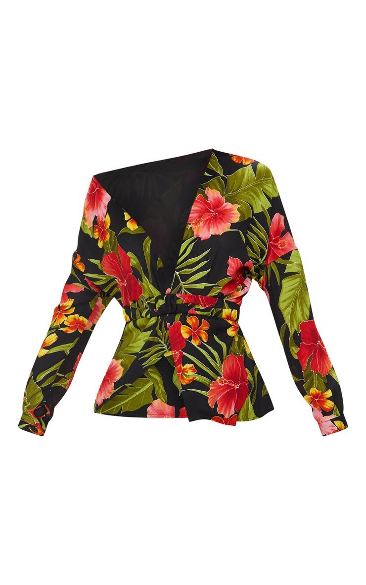 Black Floral Print Off Shoulder Belted Blouse 3
