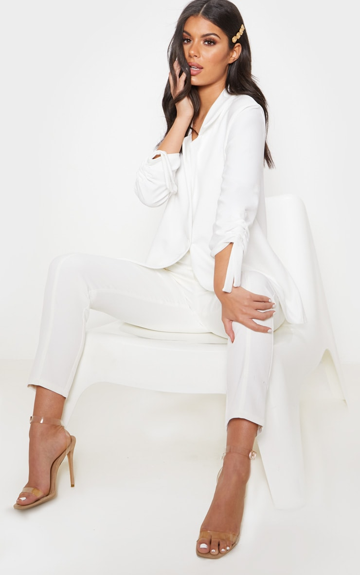 White Ruched Sleeve Blazer 4