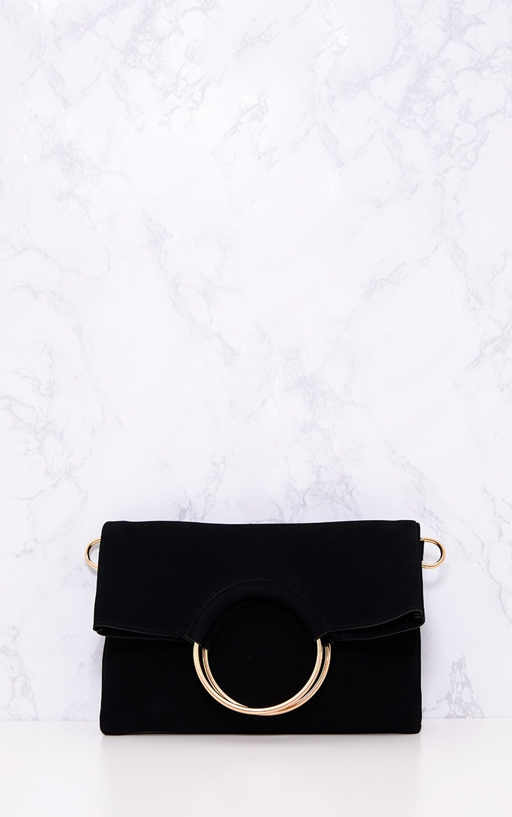 Black Ring Detail Fold Over Clutch 2