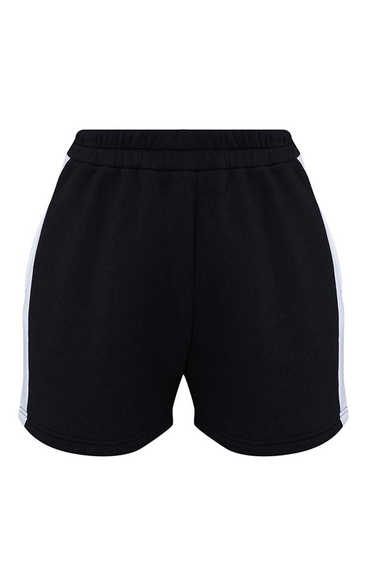 Black Sweat Longline Contrast Side Stripe Short 6