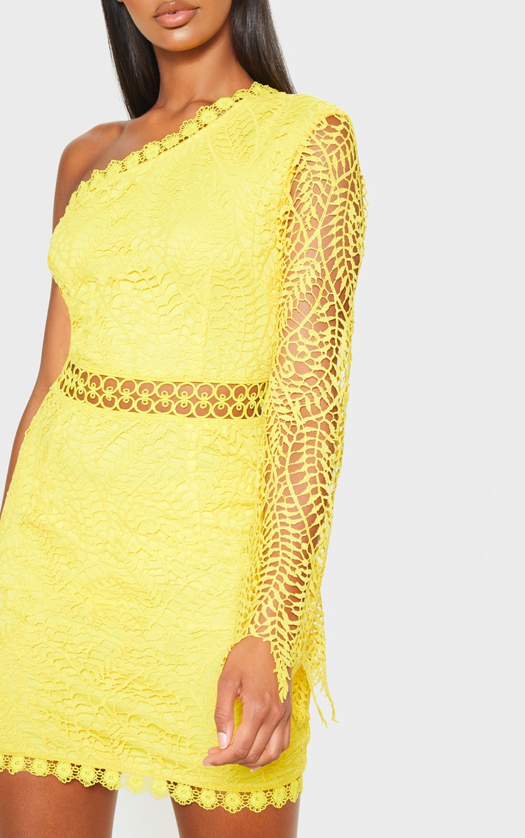 Bright Yellow One Shoulder Lace Bodycon Dress 5