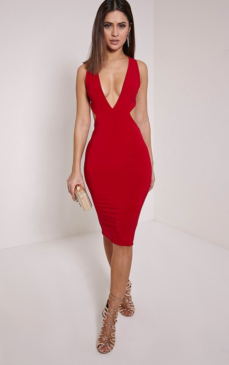 Biddy Red Deep V Plunge Cross Back Midi Dress 1