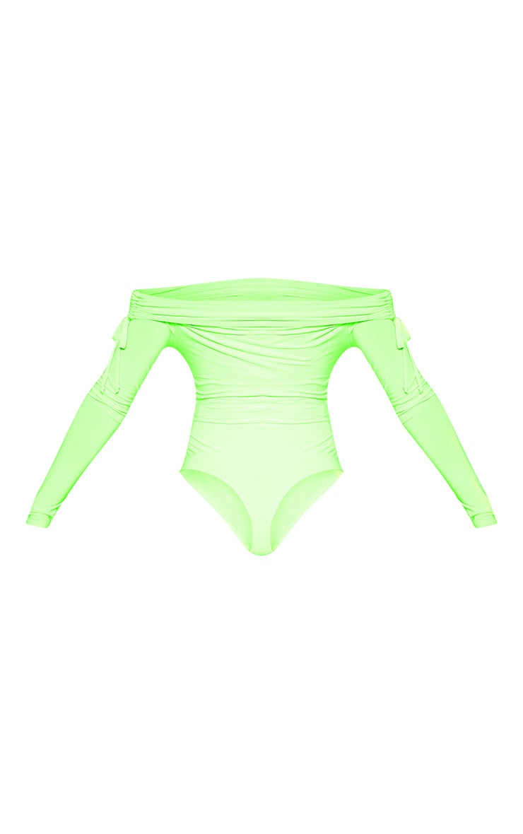 Tall Lime Green Slinky Ruched Bardot Bodysuit  5