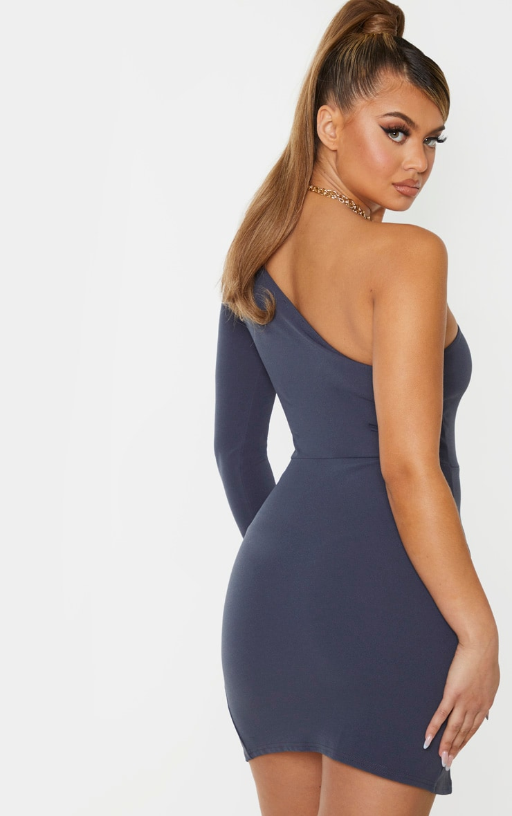 Charcoal Blue One Shoulder Double Split Hem Bodycon Dress 2