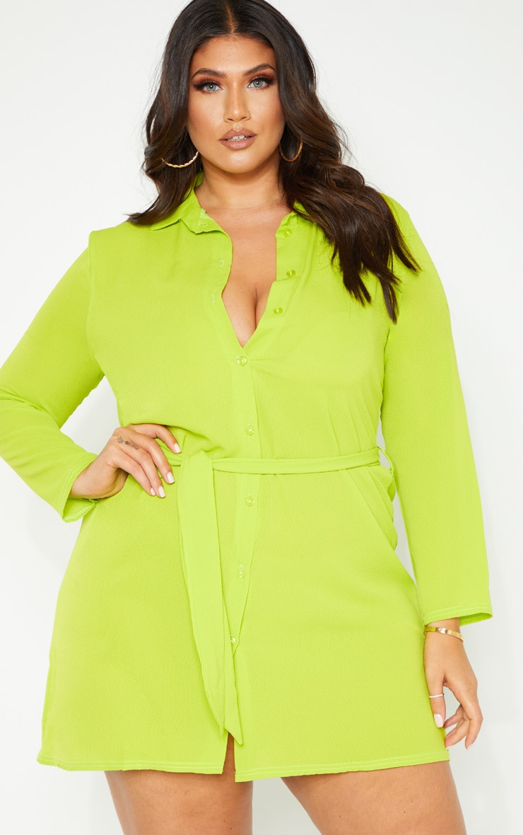 Plus Neon Lime Tie Waist Shirt Dress 4