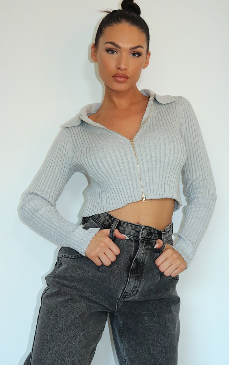 Grey Double Zipped Knitted Crop Top 1