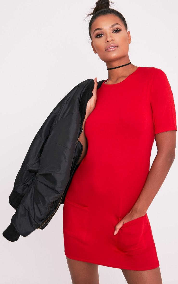 Basic robe t-shirt rouge à poche 1