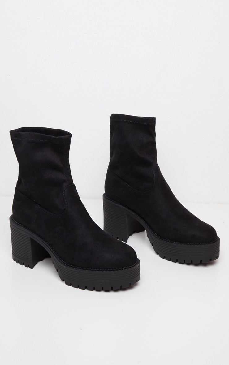 Black Faux Suede Chunky Sock Boot  3