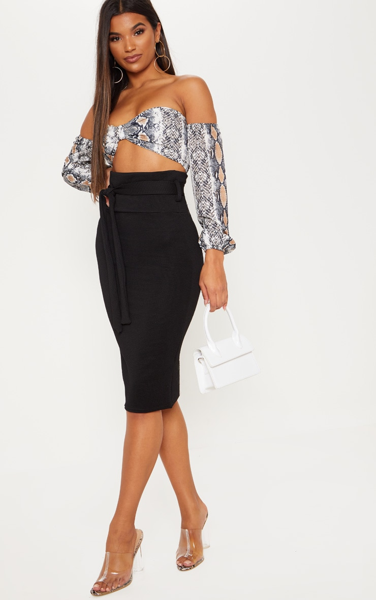 Black Highwaisted Thick Rib Tie Midi Skirt  1