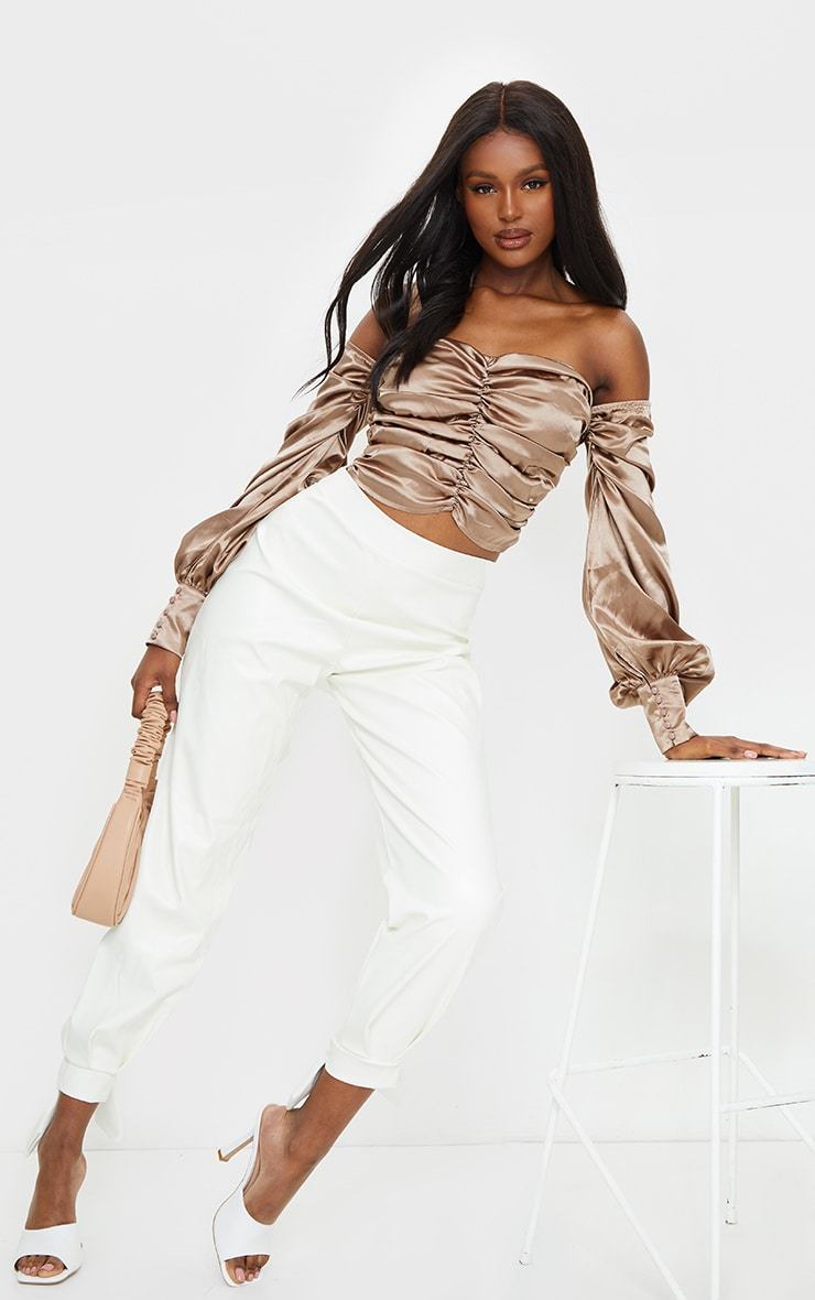 Tall Mocha Satin Ruched Long Sleeve Crop Top 3