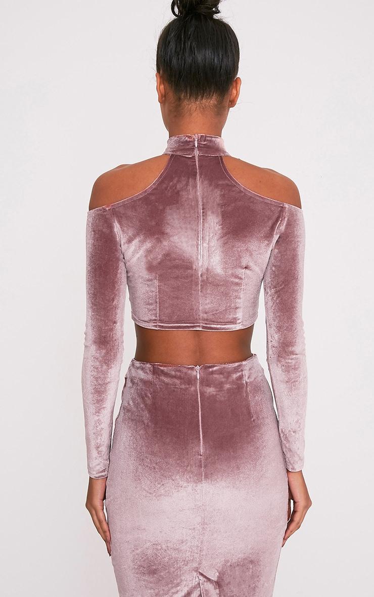 Whitney Pink Velvet Cold Shoulder Choker Crop Top 2