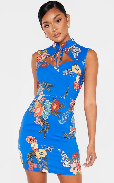 Cobalt Oriental Print Satin High Neck Keyhole Detail Bodycon Dress