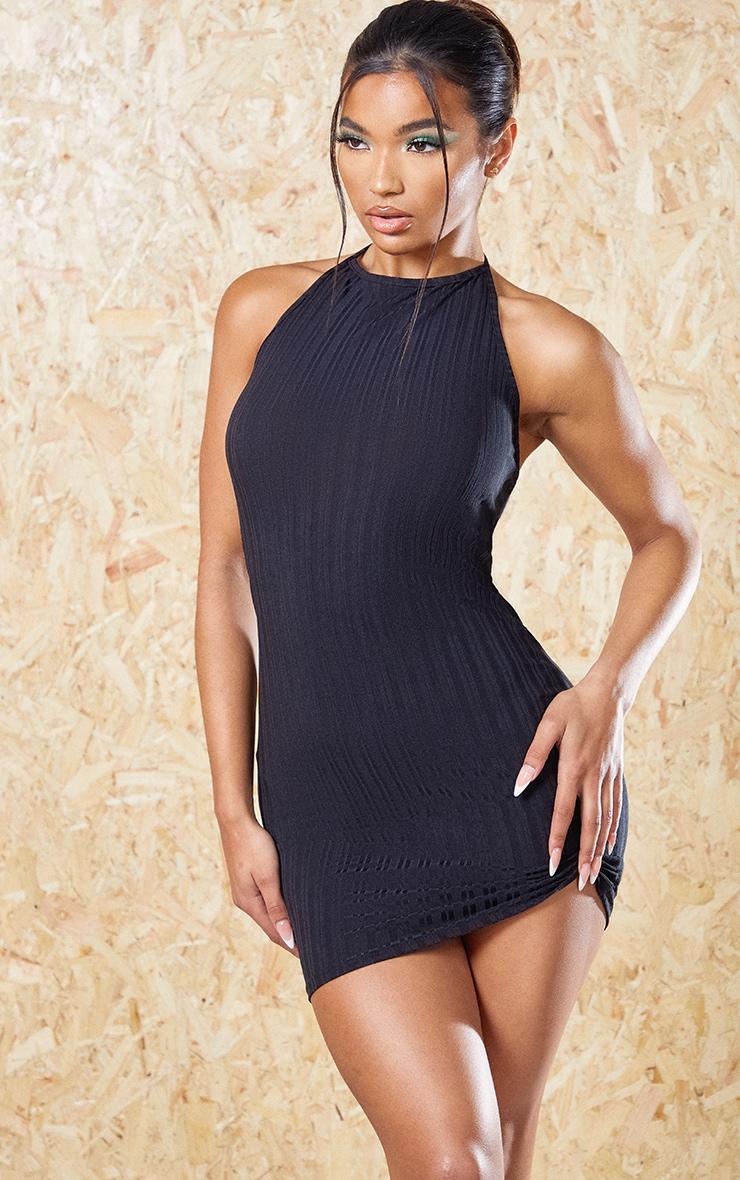 Black Recycled Rib Halterneck Bodycon Dress 3