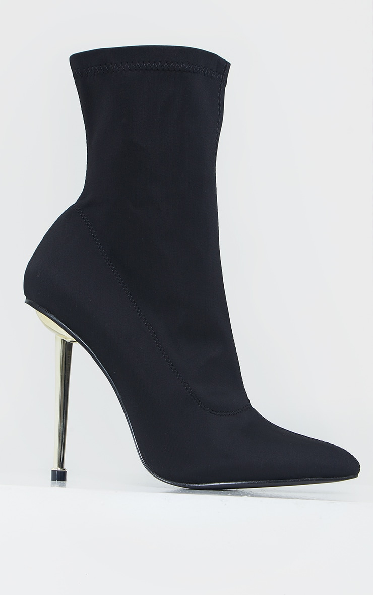 Black Woven Metal Heeled Boots 4