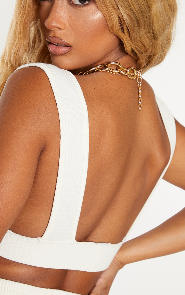 Shape Cream Thick Rib Side Boob Crop Top 5