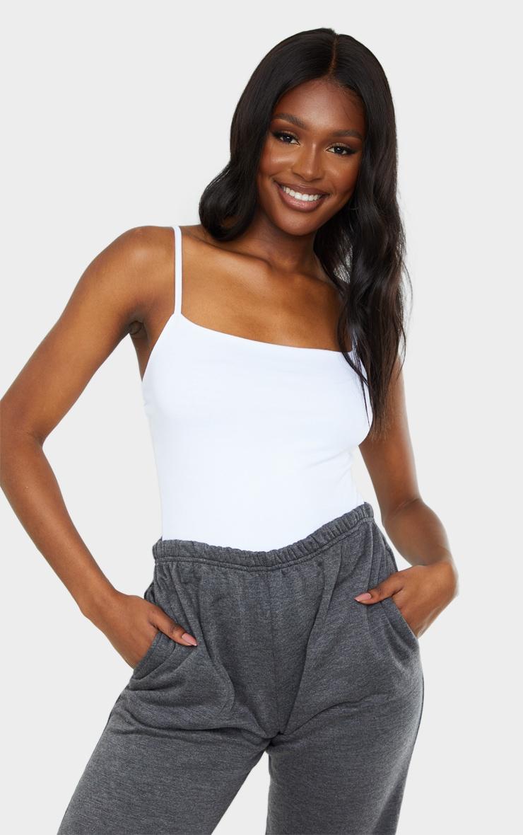 Tall White Square Neck Basic Thong Bodysuit 1