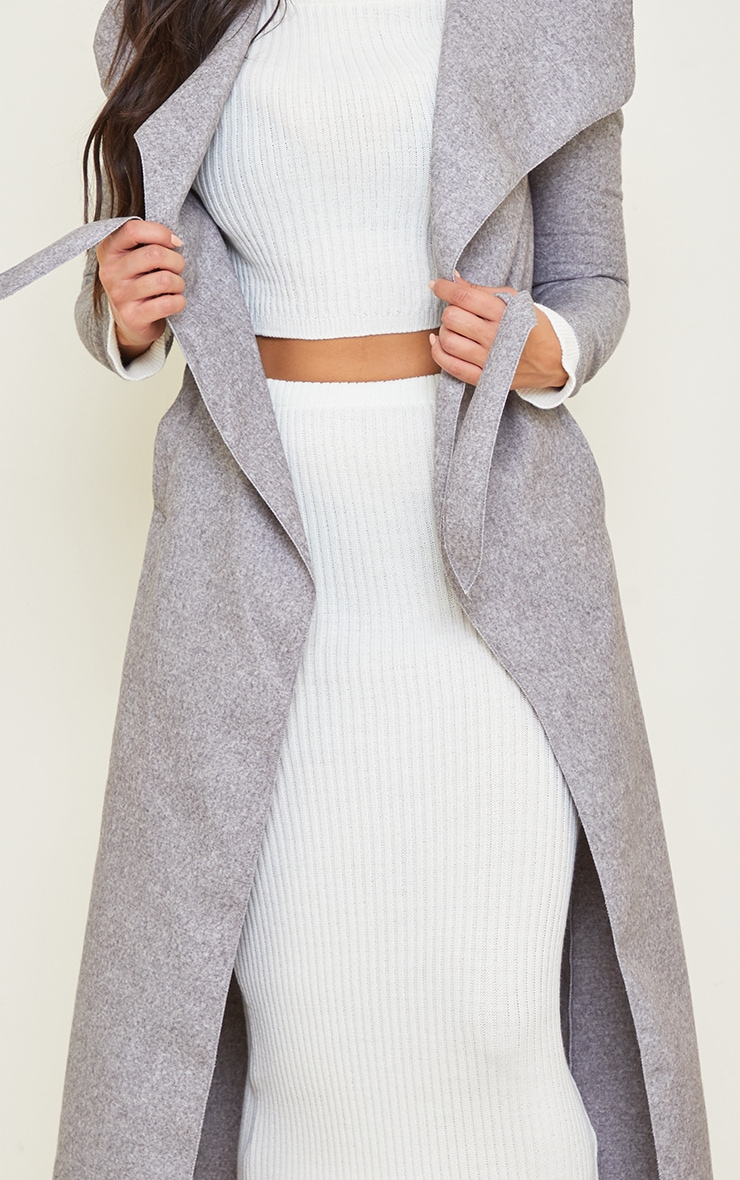 Tall Grey Maxi Length Oversized Waterfall Belted Coat 4