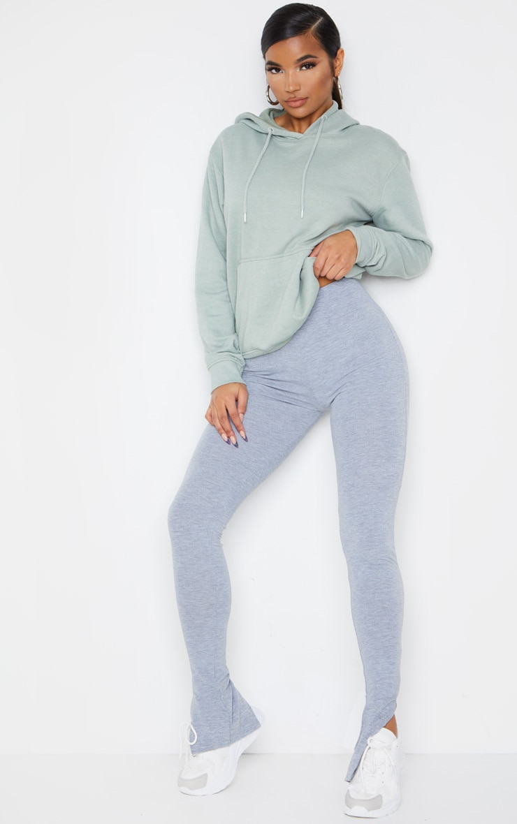 Grey Marl Basic Jersey Split Hem Leggings 1