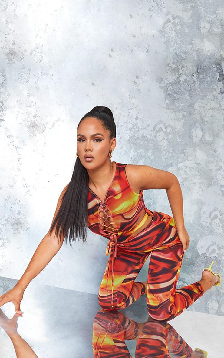 Orange Marble Print Mesh Lace Up Jumpsuit 3