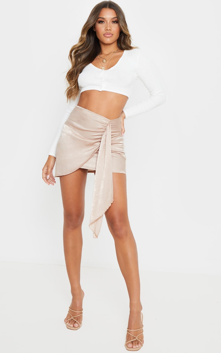 Champagne Satin Wrap Tie Detail Mini Skirt 5