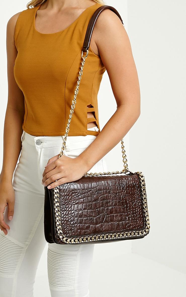 Ophelia Mocha Chain Detail Bag 2