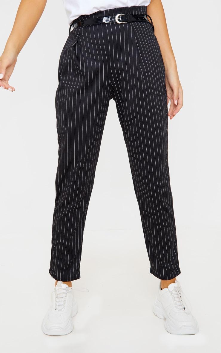 Black Pinstripe Belted Skinny Trousers 2
