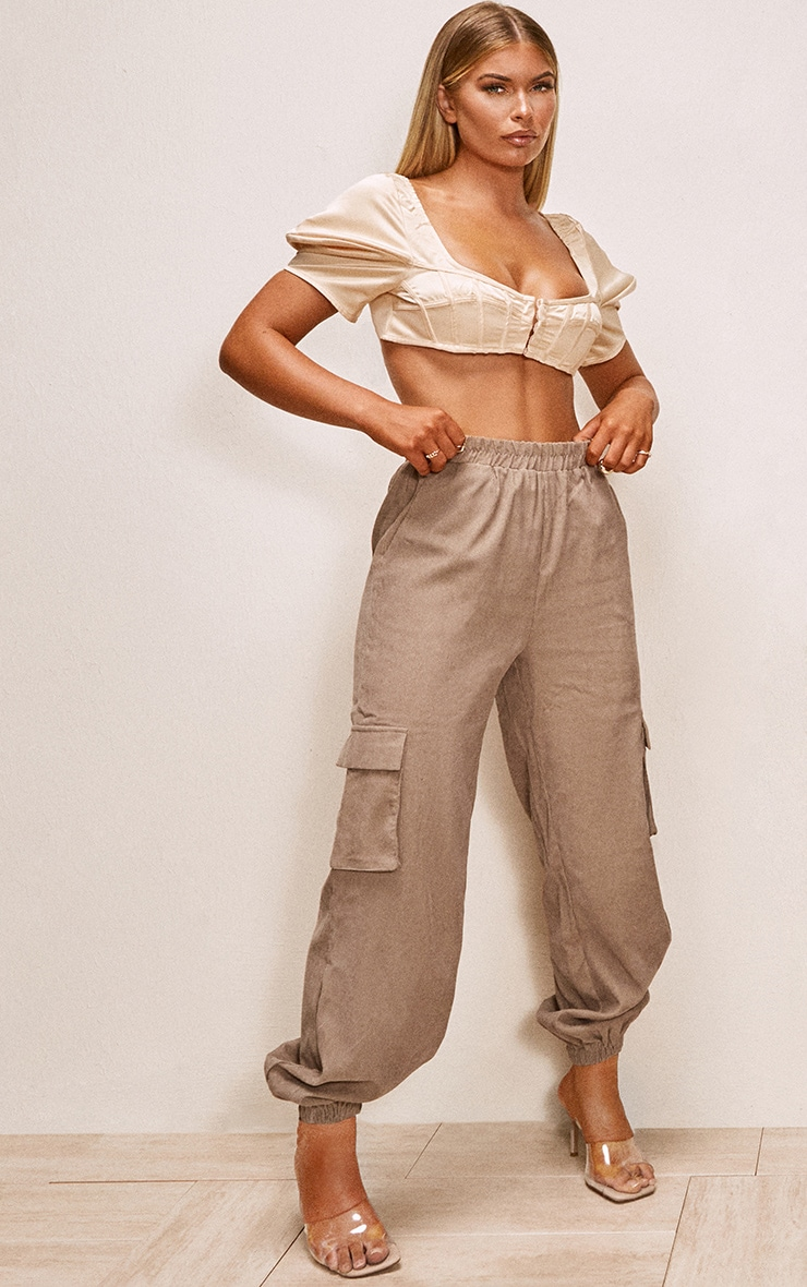 Taupe Cord Pocket Detail Cargo Trousers