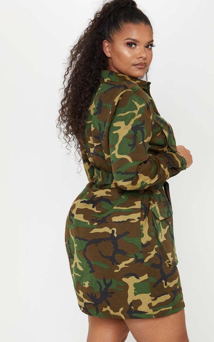 PLT Plus - Robe chemise utilitaire camouflage à détail ceinture 2