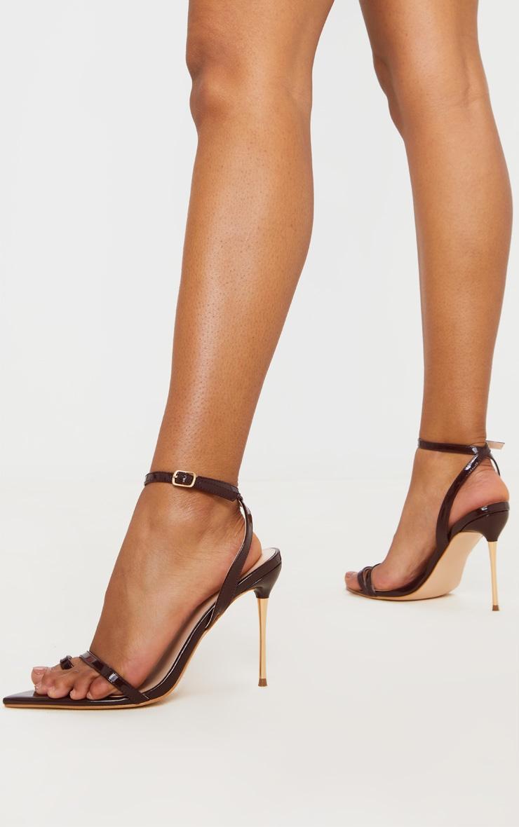 Chocolate Pin Heel Toe Loop Ankle Strap Point Sandal 1