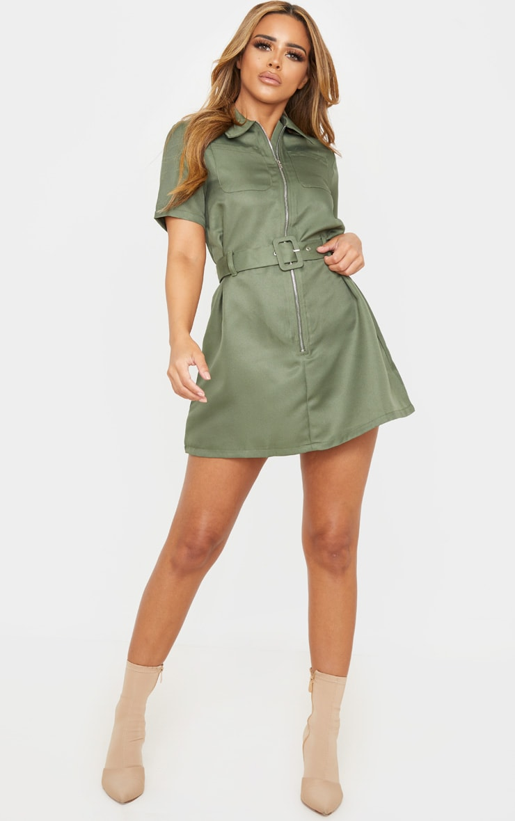 Petite Khaki Zip Detail Belted Utility Dress 4
