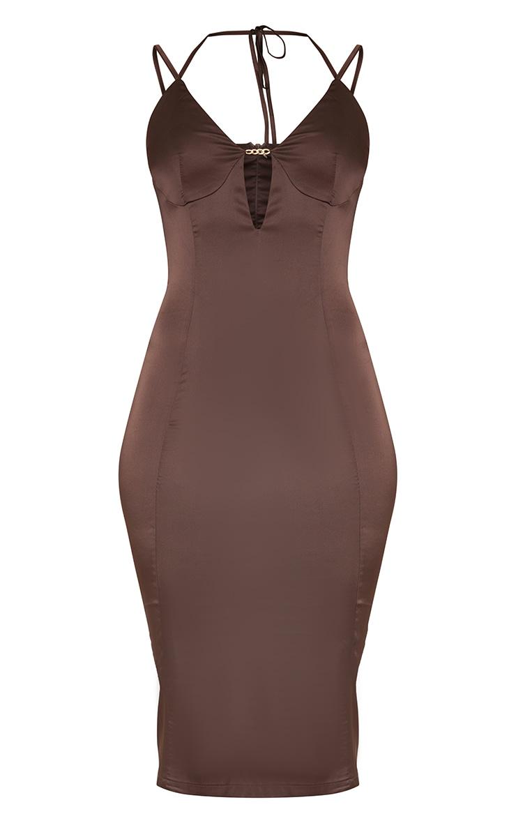 Chocolate Satin Strappy Halterneck Detail Split Hem Midi Dress 5