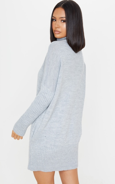 Grey Cable Front Knitted Jumper Dress
